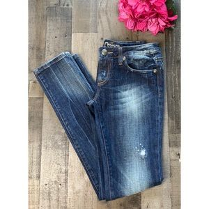 REROCK FOR EXPRESS Dark Distressed Skinny Jeans 4